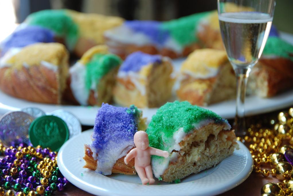 King Cake with Baby and Champagne