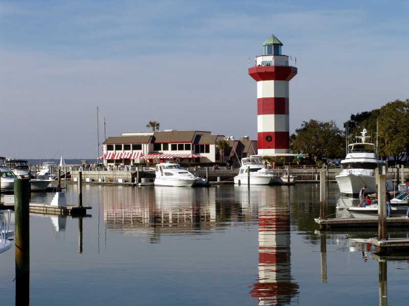 Hilton Head Harbor with lighthouse