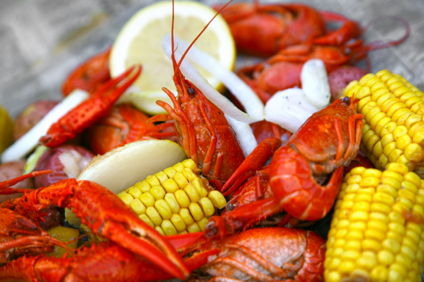 Boiled crawfish with corn - a favorite Cajun dish