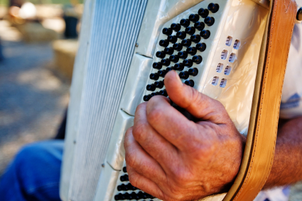 The accordion is one of the main instruments used in zydeco music